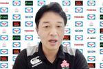 ラグビー7人制男子日本代表候補の合宿が始まり、オンラインで取材に応じる岩渕ヘッドコーチ=25日