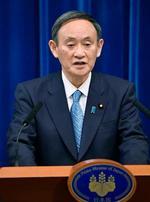 記者会見する菅首相=4日午前11時1分、首相官邸