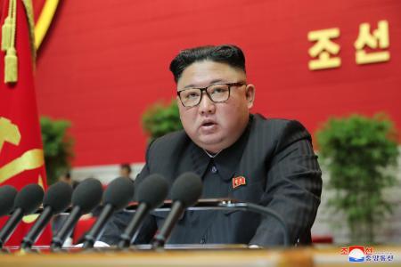 北朝鮮の朝鮮労働党大会に出席した金正恩党委員長=8日、平壌(朝鮮中央通信=共同)