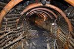 火災で閉鎖後、初めて公開された石炭博物館の模擬坑道=13日午後、北海道夕張市