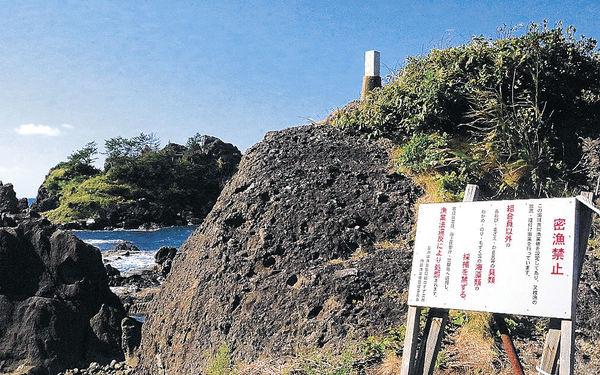 密漁現場付近に立つ警告看板=珠洲市馬緤町