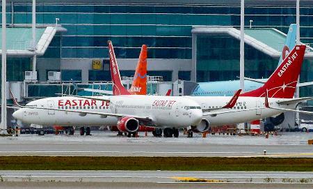 韓国の仁川国際空港に駐機するイースター航空の機体=2020年5月(聯合=共同)