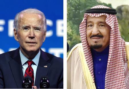 バイデン米大統領(ゲッティ=共同)、サウジアラビアのサルマン国王