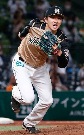 8回1失点で9勝目を挙げた日本ハム・上沢=メットライフドーム
