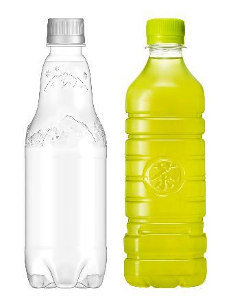 サントリー食品インターナショナルのラベルのない炭酸飲料(左)と茶飲料