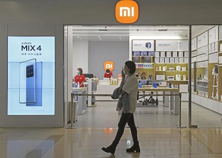 中国スマートフォン大手の小米科技の店舗=1日、北京(共同)